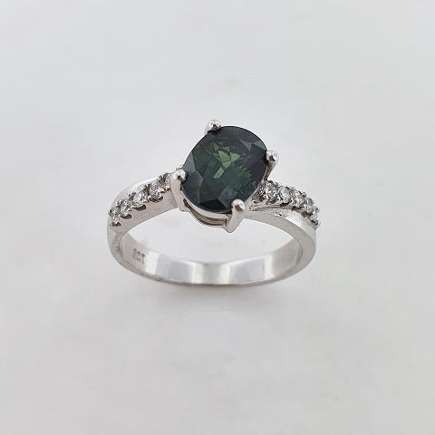 Green Sapphire & Diamond 9ct Gold Ring