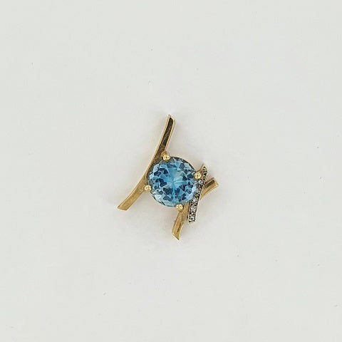 Blue Zircon & Diamond 9ct Gold Pendant