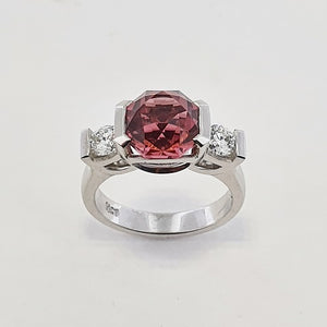 Pink Tourmaline & Diamond 18ct Gold Ring