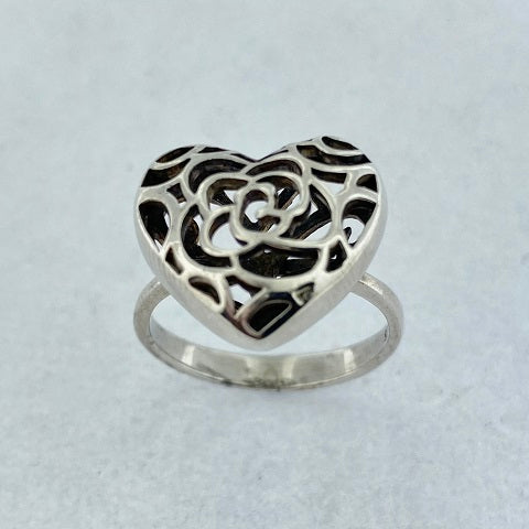 Sterling Silver Heart Filigree Ring