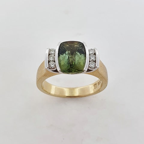 Green Tourmaline & Diamond 9ct Ring