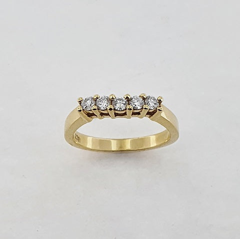 Diamond 18ct Yellow Gold Curved Ring