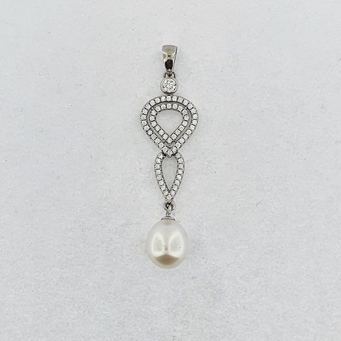 Freshwater Pearl & CZ Sterling Silver Pendant