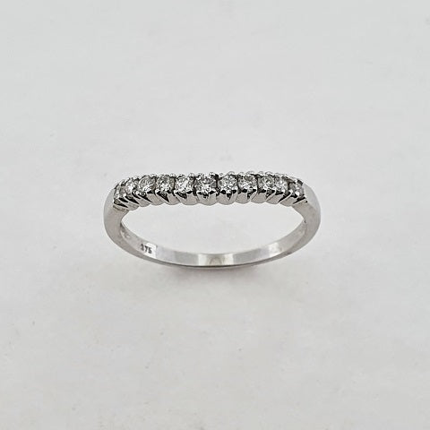 Diamond 9ct White Gold Curved Band