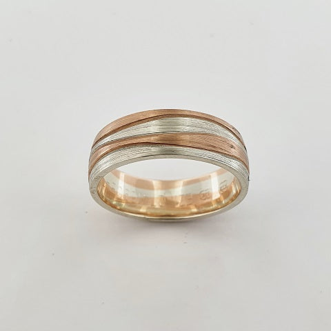 9ct White and Rose Gold Wave Ring