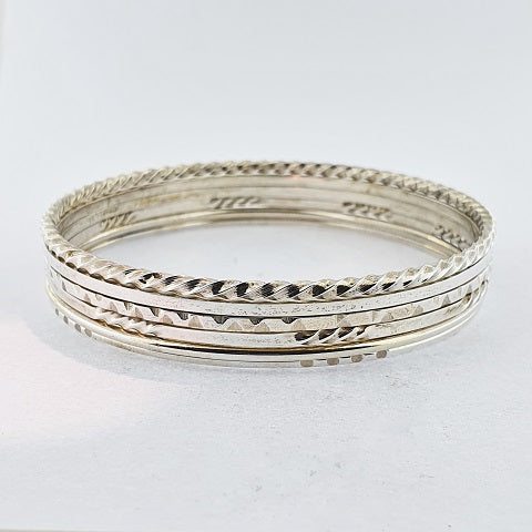 Sterling Silver Engraved Bangle Set