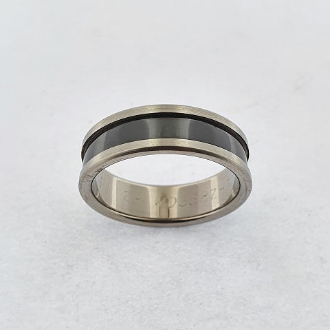 Zirconium Ring with Raised Edges