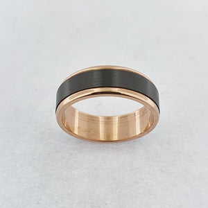 Zirconium and 9ct Rose Gold Ring