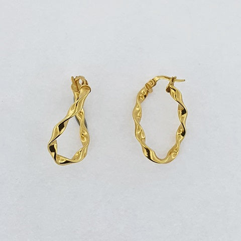 9ct Yellow Gold Oval Ribbon Hoop Earrings