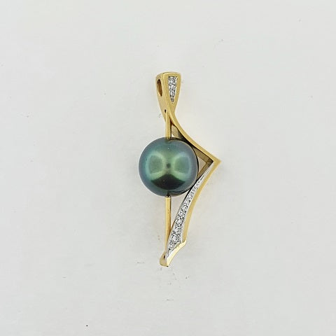 Tahitian Pearl & Diamond 18ct Gold Pendant
