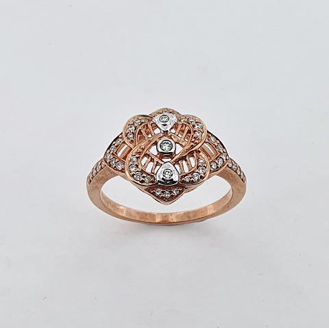 Diamond 9ct Rose Gold Filigree Ring