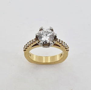 Diamond 18ct Yellow Gold & Platinum Solitaire Ring
