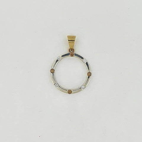 Chocolate & White Diamond 9ct Gold Pendant
