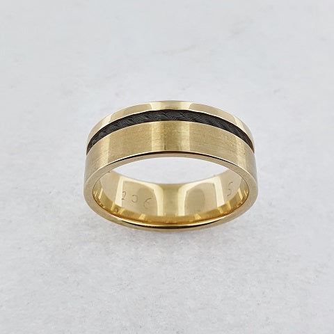 Zirconium & 9ct Yellow Gold Rope Twist Ring