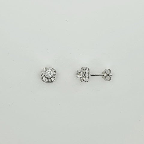 Diamond 18ct White Gold Halo Earrings