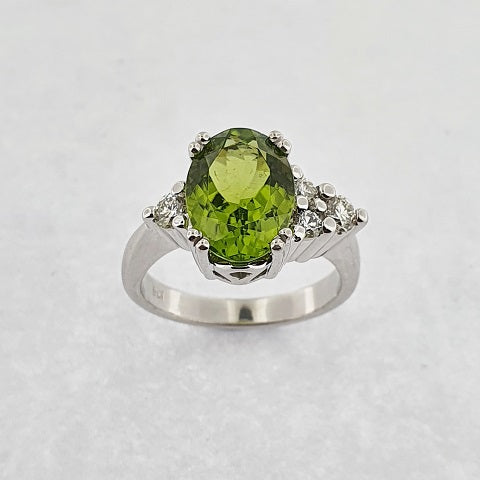 Peridot, Sapphire, Aquamarine & Diamond 9ct Gold Ring