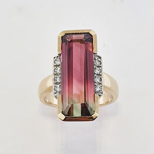 Watermelon Tourmaline & Diamond 9ct Gold Ring