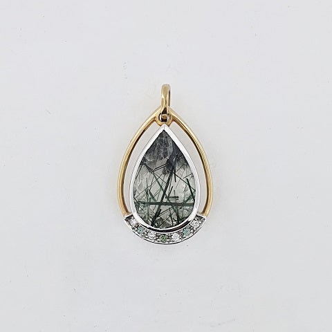Rutile Quartz, Green Sapphire & Diamond 9ct Gold Pendant