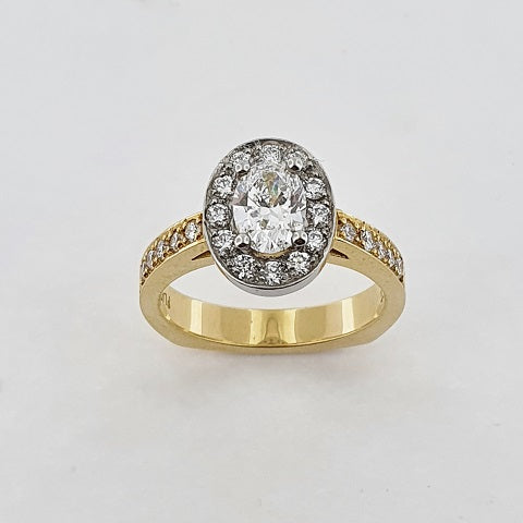 Diamond 18ct Gold & Platinum Halo Ring