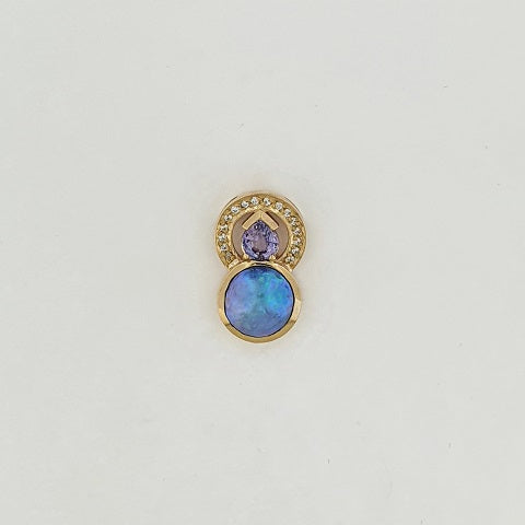 Paua Pearl, Purple Sapphire & Diamond 9ct Gold Pendant