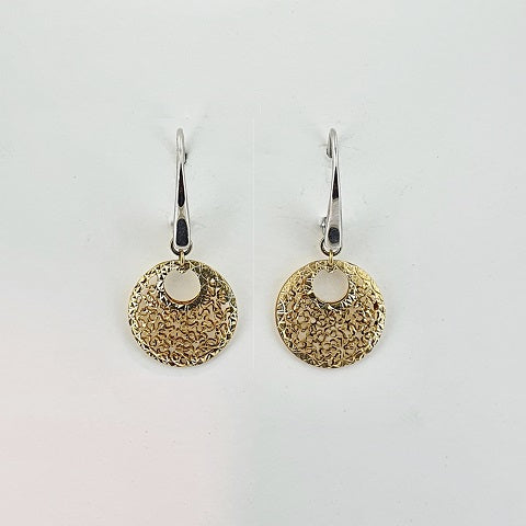 9ct Yellow & White Gold Floral Earrings