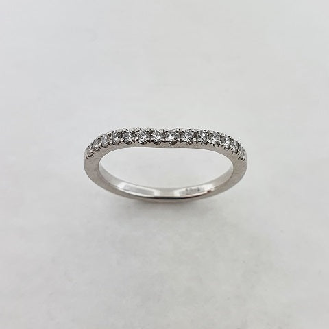 Diamond 18ct White Gold Curved Ring