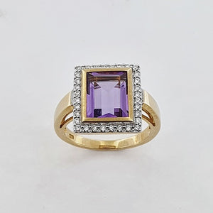 Amethyst & Diamond 9ct Yellow Gold Ring