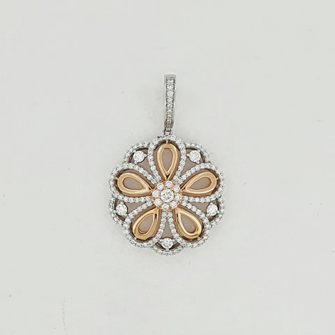 Diamond 18ct Gold Flower Pendant