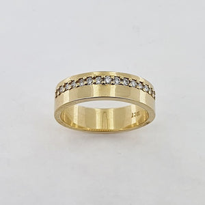 Diamond 18ct Yellow Gold Offset Ring