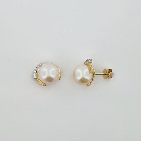 Freshwater Pearl & Diamond 18ct Yellow Gold Earrings