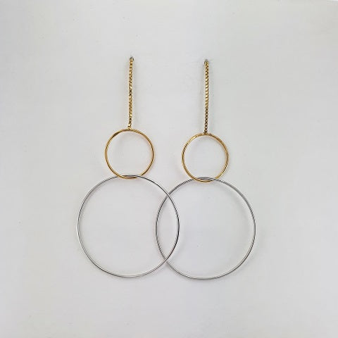 9ct Yellow & White Gold Thread Earrings