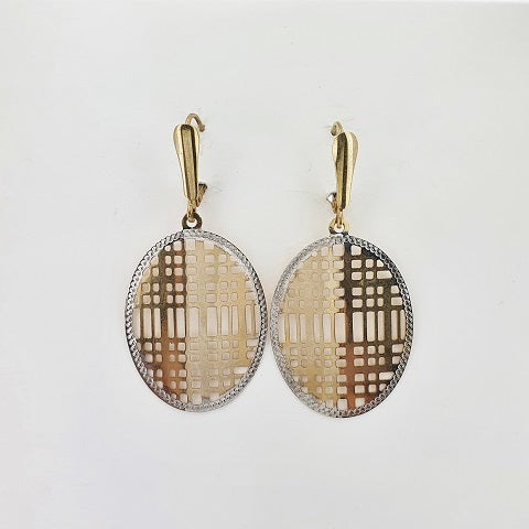 9ct Yellow & White Gold Oval Earrings