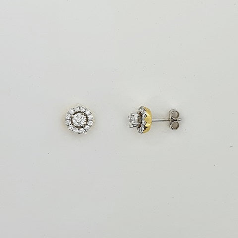 Diamond 18ct Gold Halo Earrings