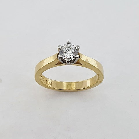 Diamond 18ct Yellow Gold & Platinum Ring