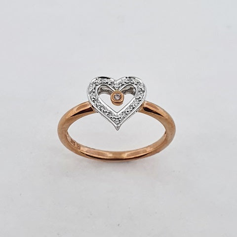 Pink Natural & White Diamond 9ct Gold Ring
