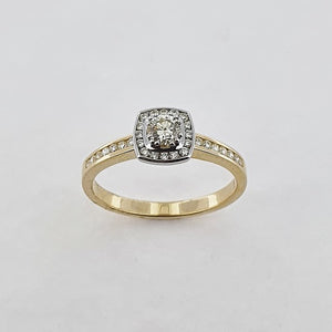 Diamond 9ct Gold Halo Ring
