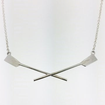 Rowing Sterling Silver Crossed Oar Necklace