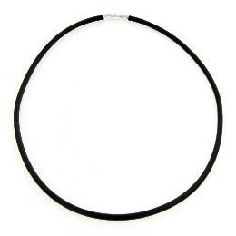 Rowing 45cm3mm Round Rubber Necklace with Sterling Silver Clasp
