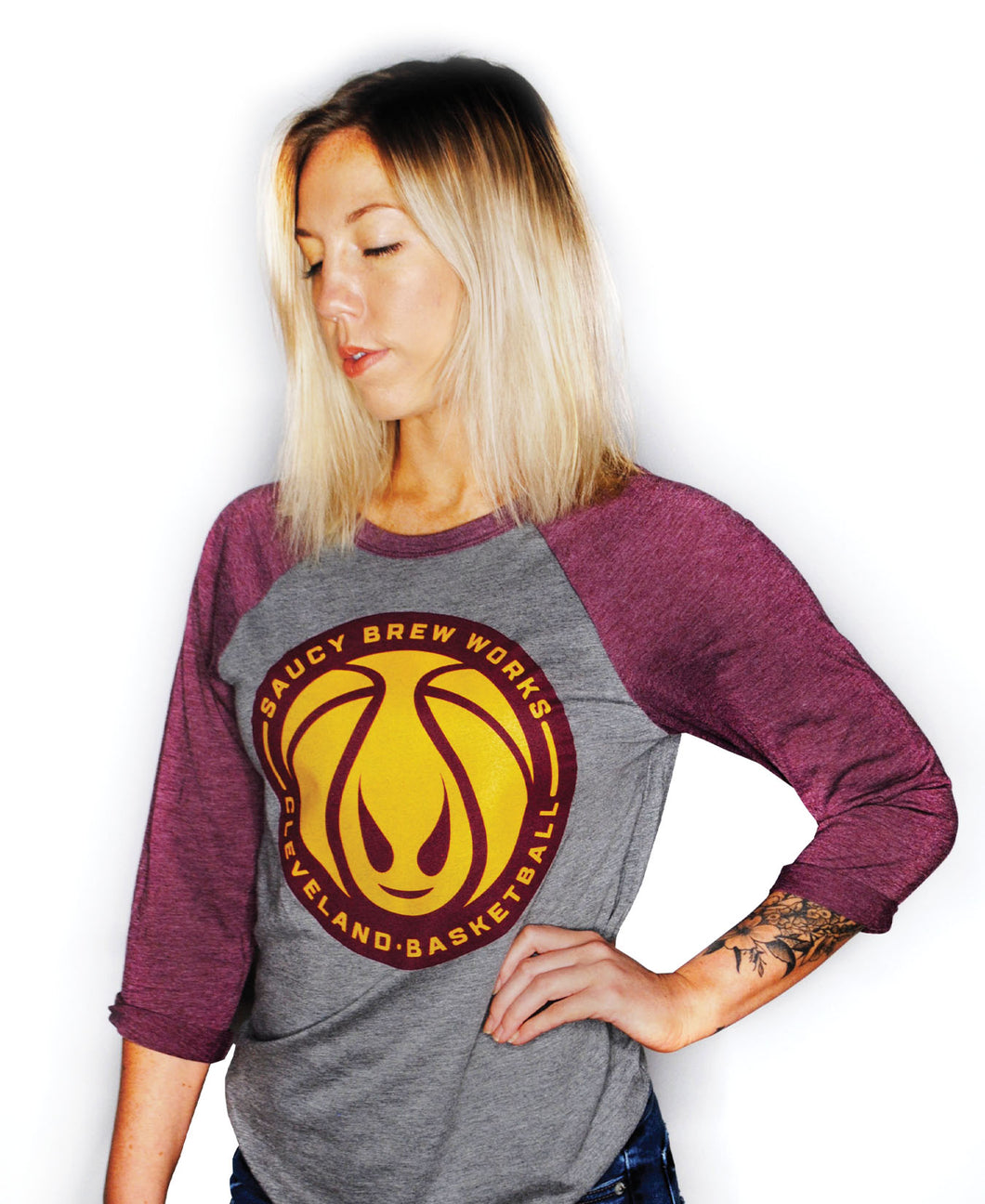 Unisex Grey/Maroon Raglan B-Ball Shirt