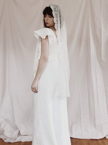 Maria Jumpsuit in White Linen