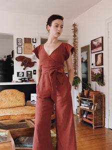Maria Jumpsuit in Brick Red