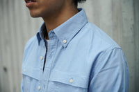 Denim Patchwork Sleeves Oxford Shirt