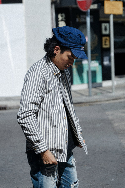 Layer Stripe Worker Shirt 【New Item Discount】