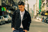 R01 Black Denim Biker Jacket