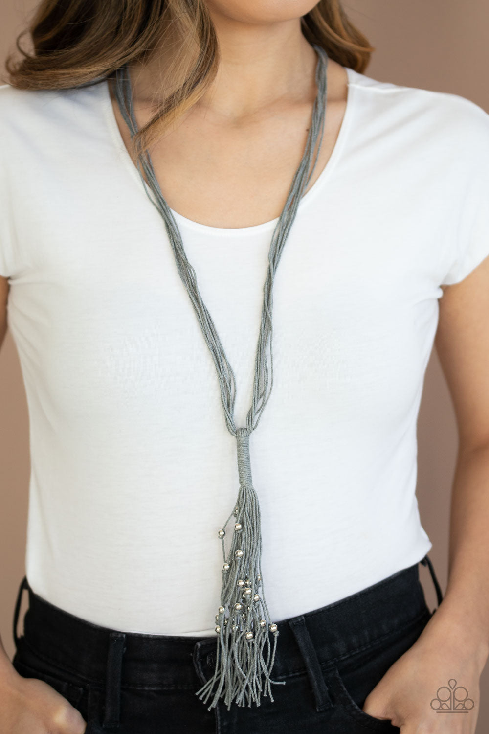 Hand-Knotted Knockout - Silver Corded Necklace