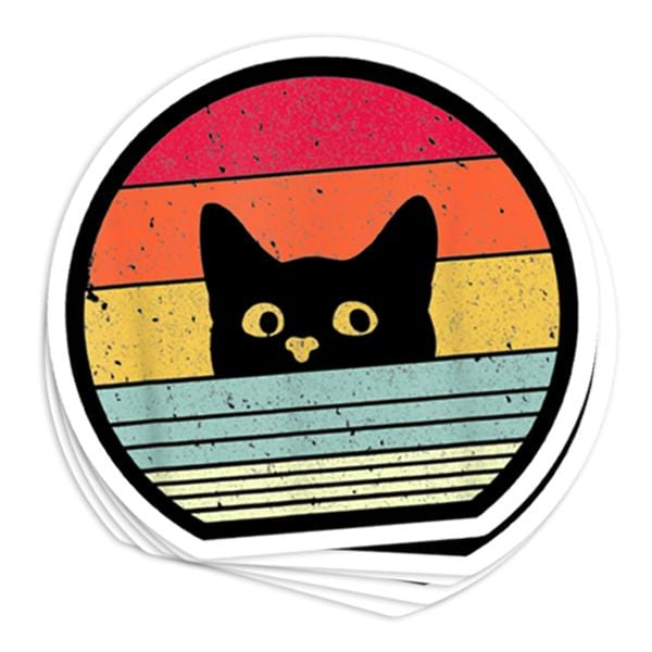 Cat Retro Vinyl Sticker
