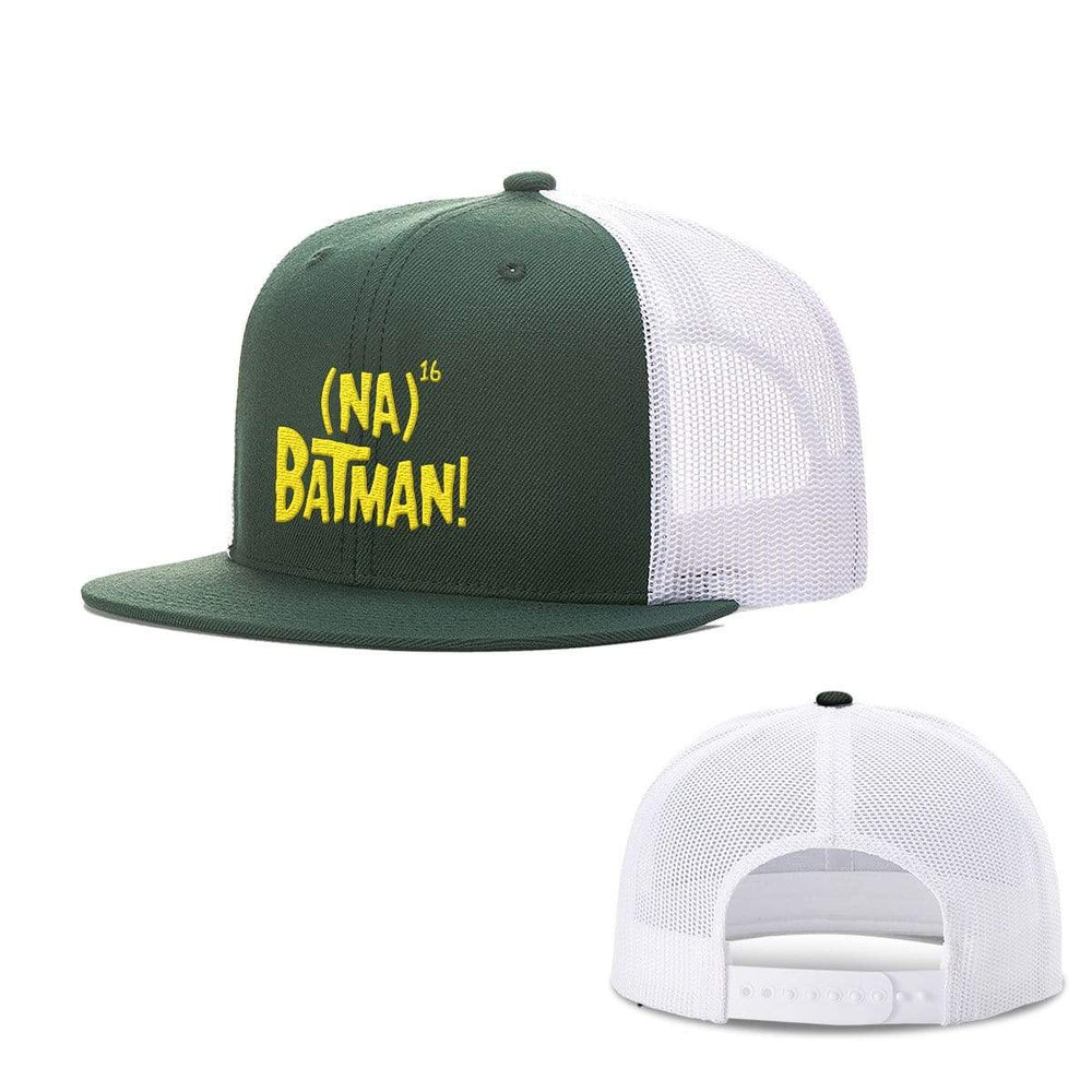 BustedTees.com Snapback Flatbill / Dark Green and White / One Size Hero Song Hats