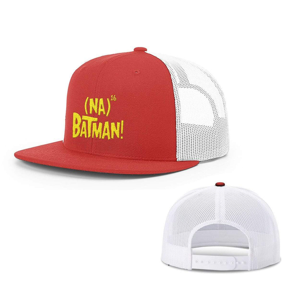 BustedTees.com Snapback Flatbill / Red And White / One Size Hero Song Hats
