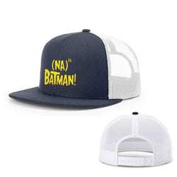 BustedTees.com Snapback Flatbill / Navy and White / One Size Hero Song Hats