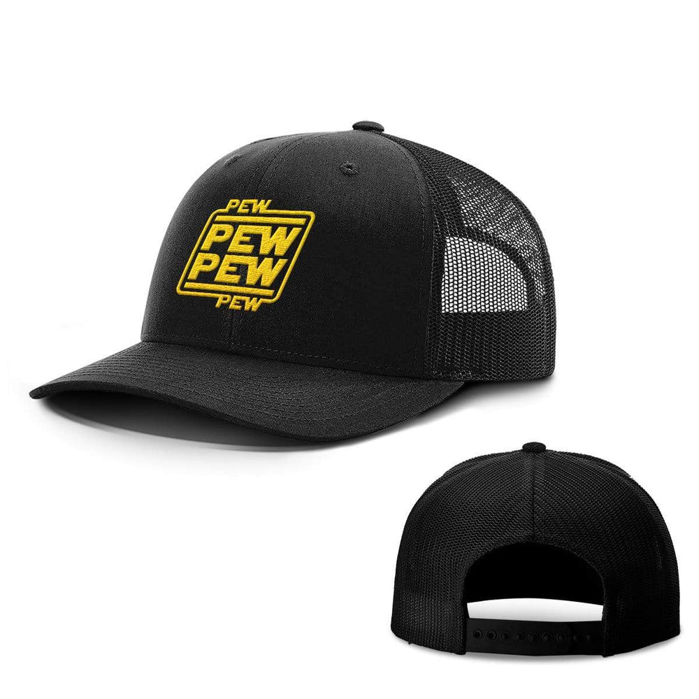 BustedTees.com Snapback / Full Black / One Size Pew Pew Hats